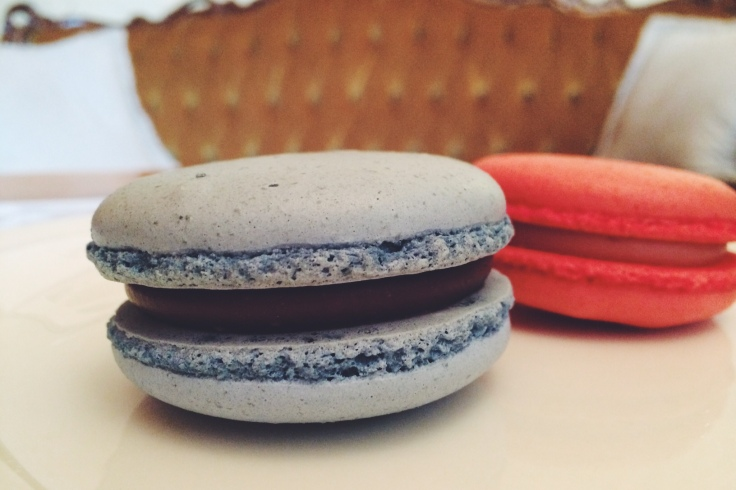 L-R blueberry and raspberry macaron